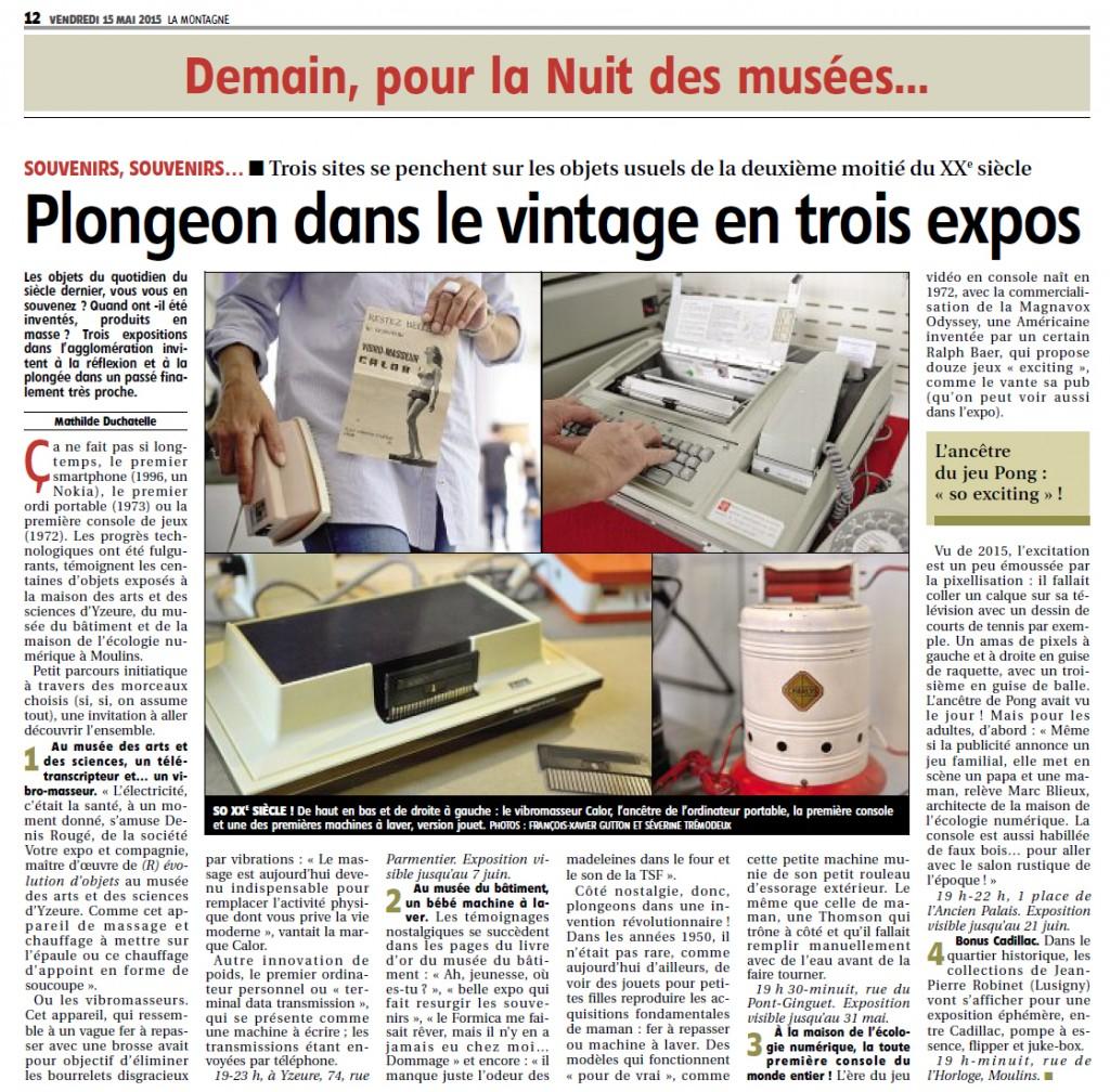 Journal La Montagne _12 mais 2015 _ Nuit des Musées